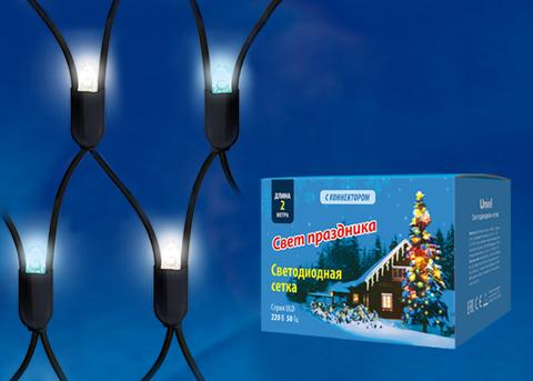 ULD-N2015-288/SBK WHITE-BLUE IP67 Сетка светодиодная, статическое свечение, 2*1,5м. Соединяемая. 288 светодиодов. Бело-синий свет. Провод черный. TM Uniel.