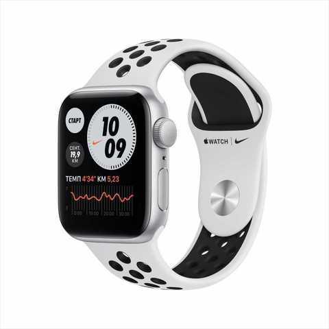 Apple Watch Nike SE, 40 мм, алюминия серебристого цвета, спортивный ремешок Nike цвета «чистая платина/чёрный»