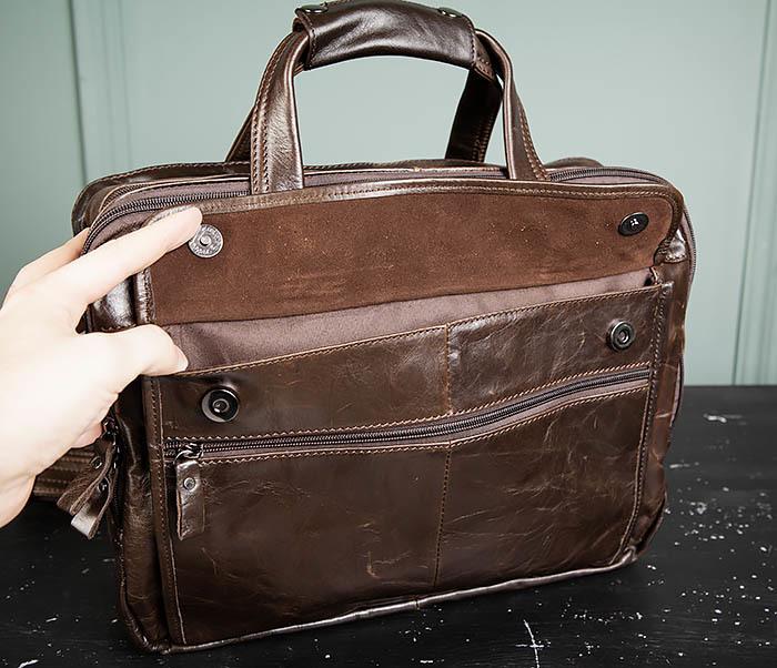 BAG490-2 Мужской коричневый кожаный портфель с ремнем фото 05