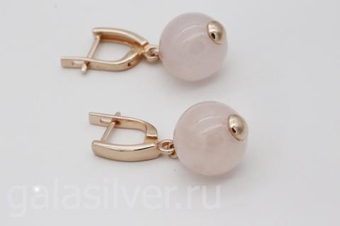 Серьги с розовым кварцем из серебра 925
