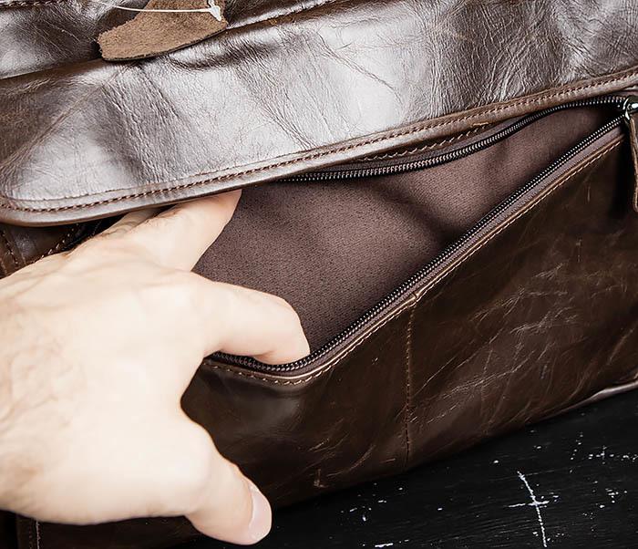 BAG490-2 Мужской коричневый кожаный портфель с ремнем фото 06