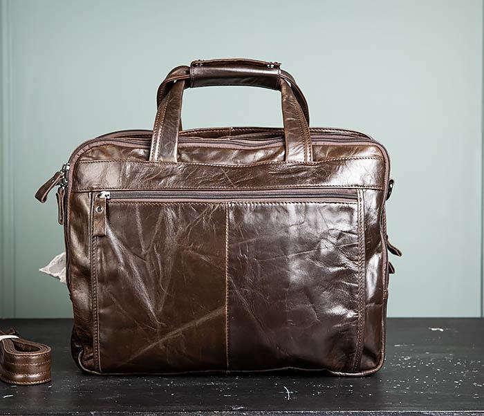 BAG490-2 Мужской коричневый кожаный портфель с ремнем фото 07