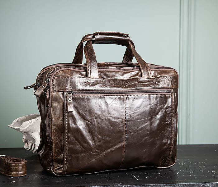 BAG490-2 Мужской коричневый кожаный портфель с ремнем фото 08