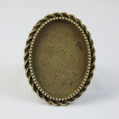 Основа для кольца с сеттингом для кабошона 25х18 мм (цвет - античная бронза)