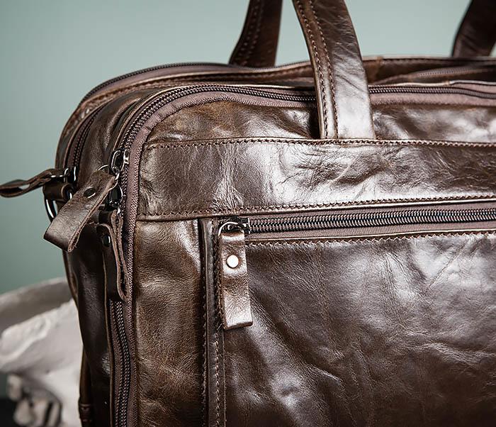 BAG490-2 Мужской коричневый кожаный портфель с ремнем фото 09