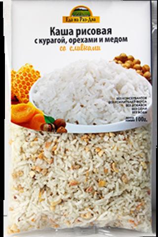 Каша рисовая с курагой, орехами и медом со сливками 'Здоровая еда'