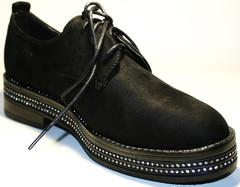 Черные туфли дерби на платформе