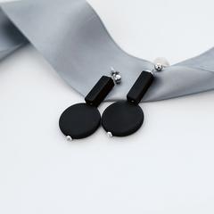 Серьги чёрные с силиконовыми элементами  оптом и в розницу
