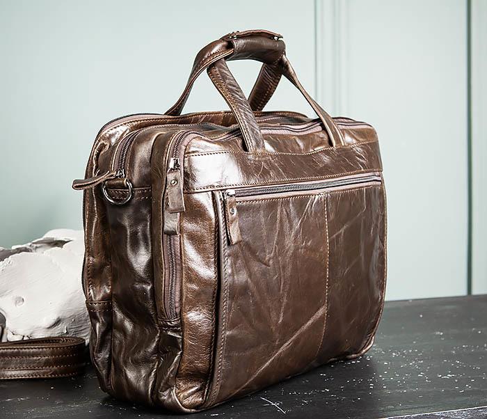 BAG490-2 Мужской коричневый кожаный портфель с ремнем фото 10