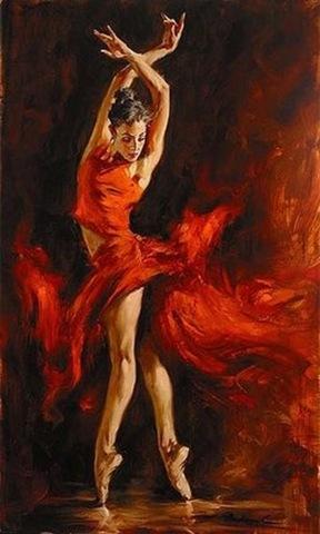 Картина раскраска по номерам 30x40 Танец в огненном платье