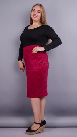 Клер. Трикотажная юбка для больших размеров. Красный.