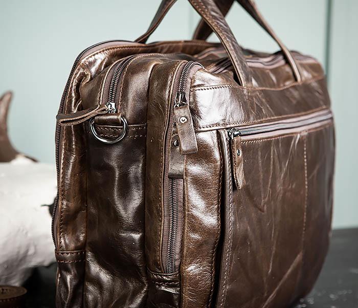 BAG490-2 Мужской коричневый кожаный портфель с ремнем фото 11