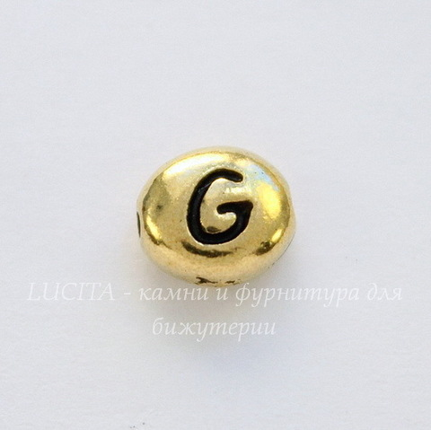 "Бусина овальная TierraCast ""Буква G"" 7х6х3 мм (цвет-античное золото)"