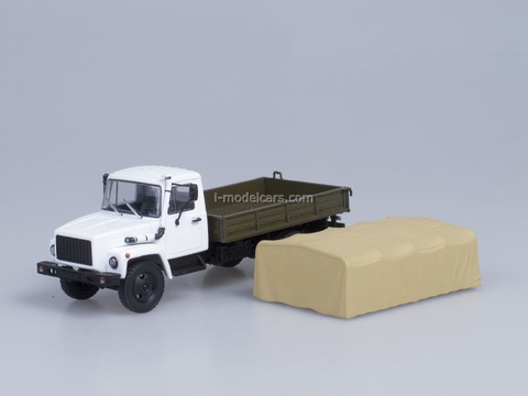 GAZ-3309 engine D-245.7 Diesel Turbo with awning white-beige AutoHistory 1:43