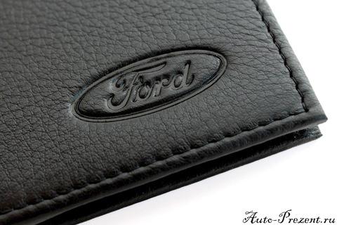 Портмоне для автодокументов из натуральной кожи с логотипом FORD