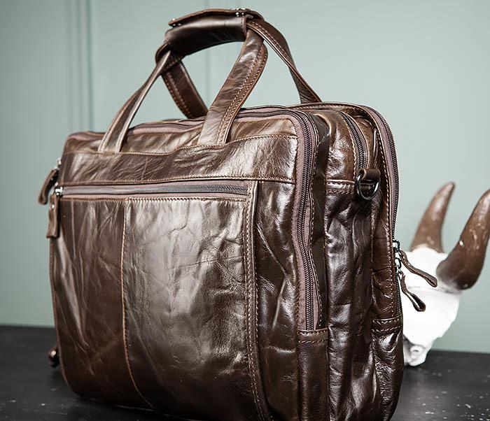 BAG490-2 Мужской коричневый кожаный портфель с ремнем фото 12