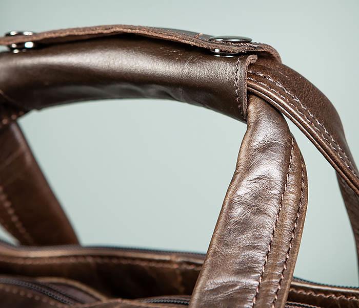 BAG490-2 Мужской коричневый кожаный портфель с ремнем фото 13