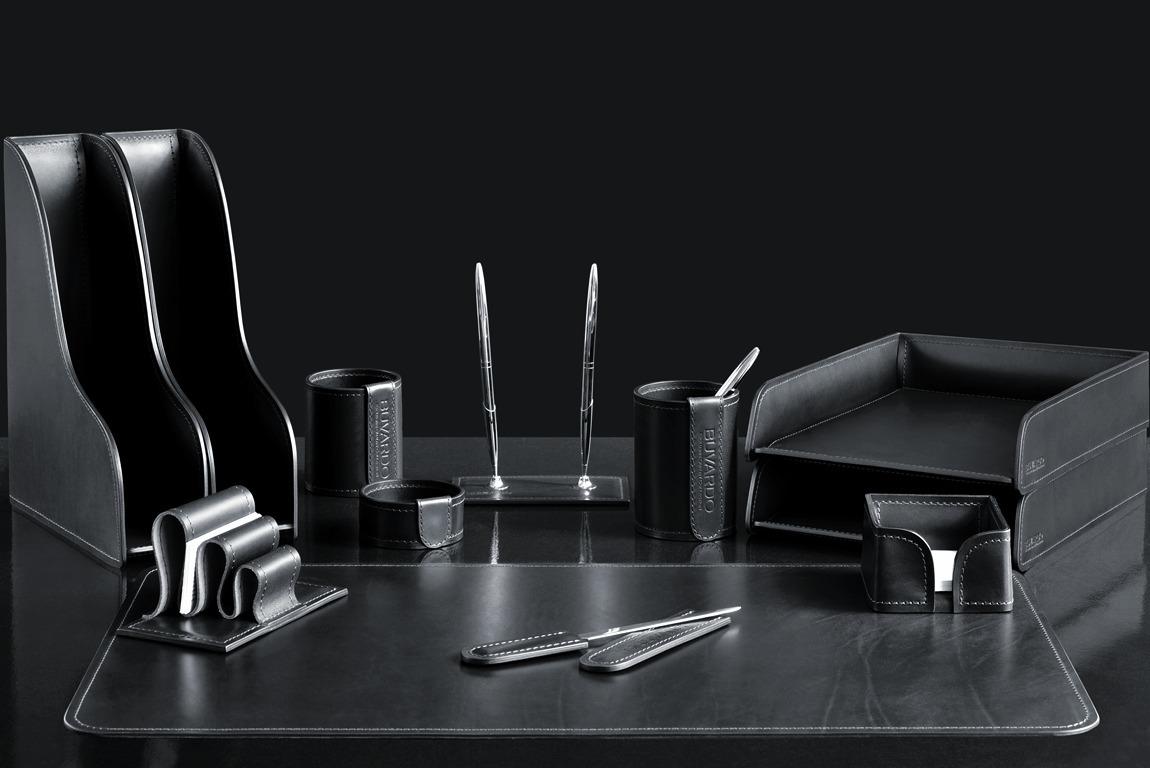 Настольный набор для руководителя 12 предметов из кожи Full Grain Black