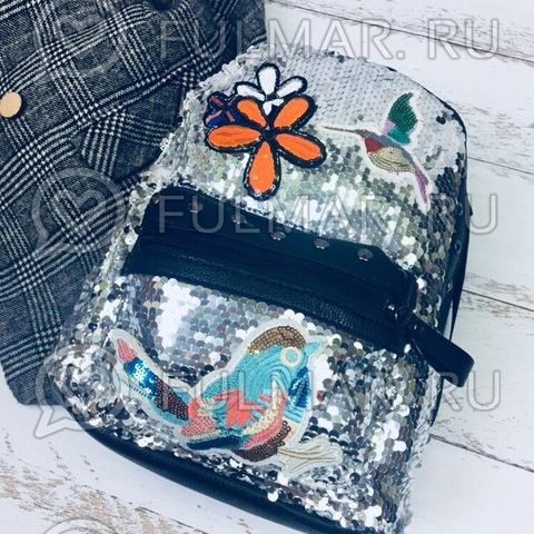 Рюкзак с пайетками и нашивками серебристый