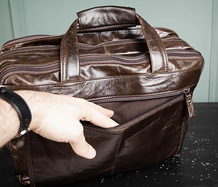 BAG490-2 Мужской коричневый кожаный портфель с ремнем фото 15