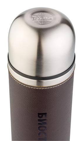 Термос Biostal Охота (1 литр) с кожанной вставкой, коричневый