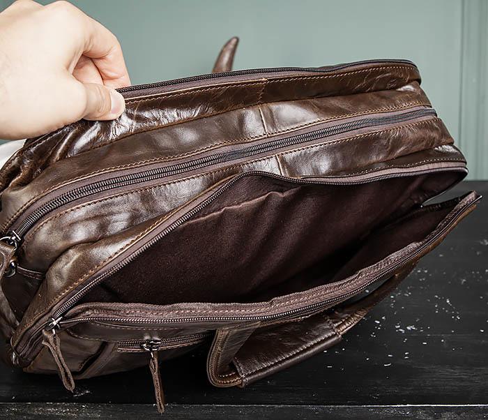 BAG490-2 Мужской коричневый кожаный портфель с ремнем фото 16