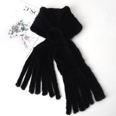 Вязаный шарф-воротник норковый (меховой) черный