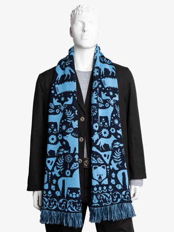 Winter Evening - blue tones No. 3.2 (Fringed Scarf)