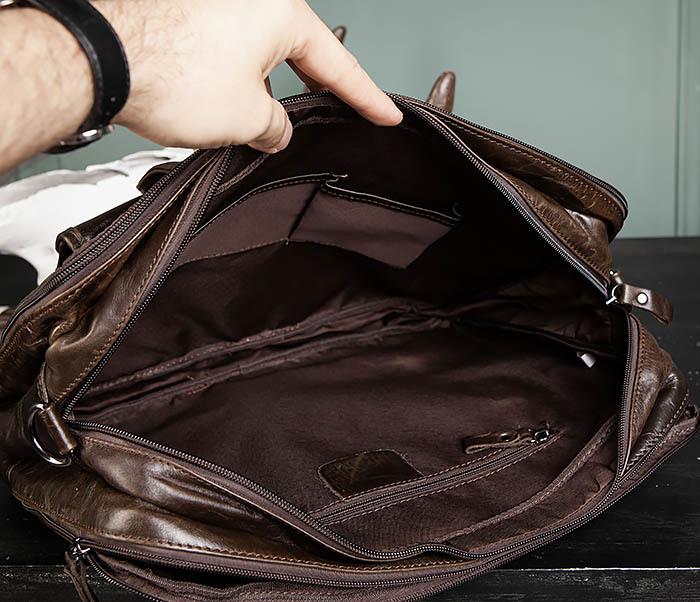 BAG490-2 Мужской коричневый кожаный портфель с ремнем фото 17