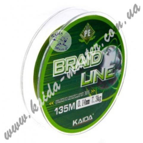 Плетенка BRAID LINE KAIDA 135 м, 0.16 мм