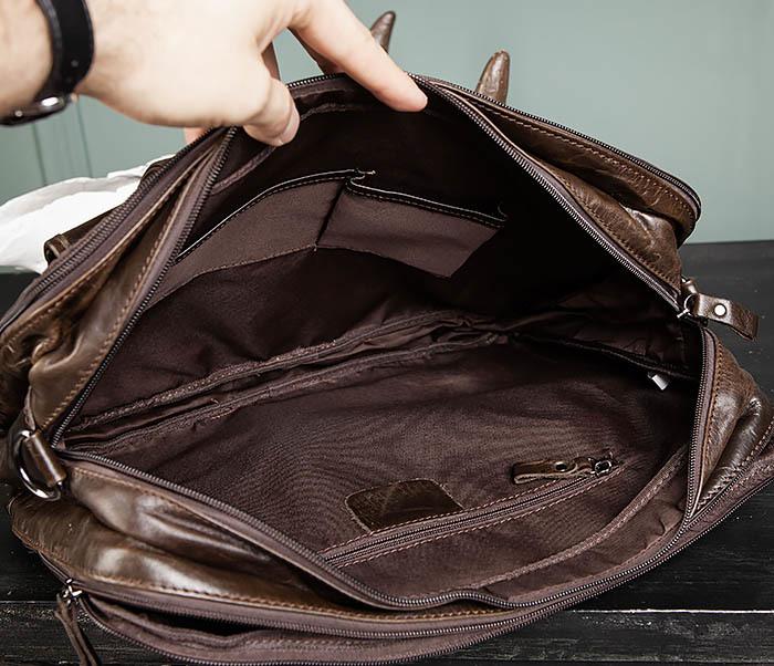 BAG490-2 Мужской коричневый кожаный портфель с ремнем фото 18