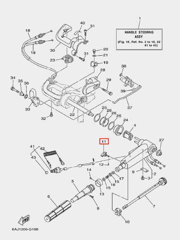 Винт фиксатора газа для лодочного мотора F20 Sea-PRO (16-11)