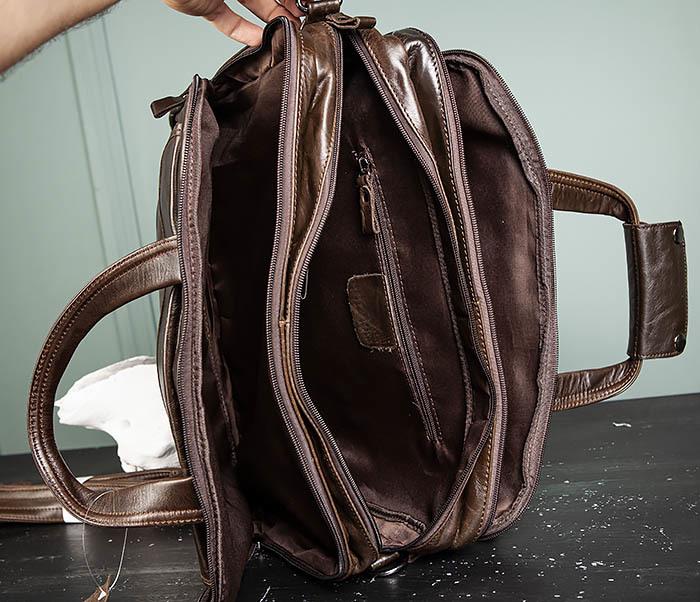BAG490-2 Мужской коричневый кожаный портфель с ремнем фото 19