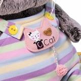 Кот Басик Baby в полосатом комбинезончике