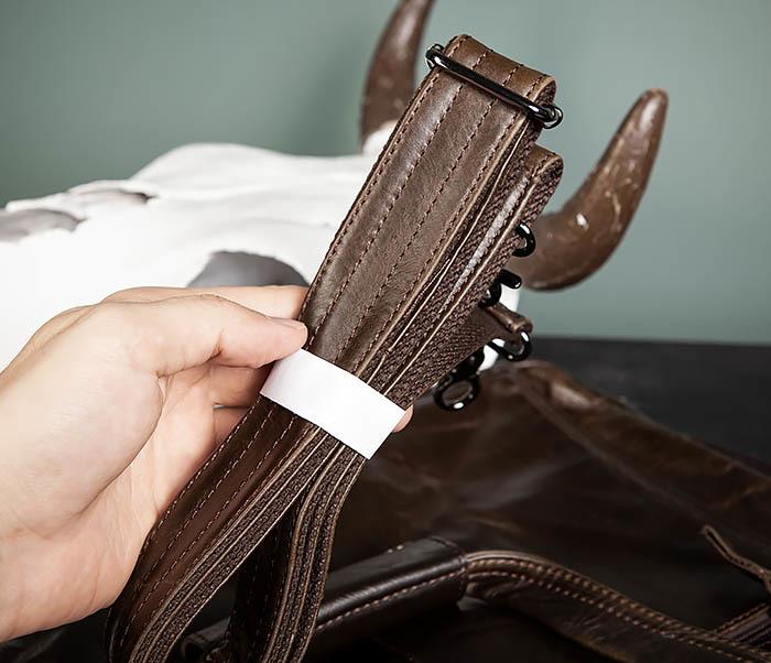 BAG490-2 Мужской коричневый кожаный портфель с ремнем фото 20