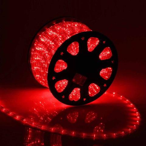 Дюралайт светодиодный, чейзинг, 11мм - 3 жилы - 24 led/m, Красный - 100м
