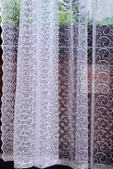 Тюль сетка с вышивкой Веточки-T (белый)