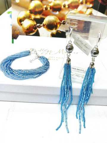 Бисерный комплект голубой (серьги-каскад и браслет)