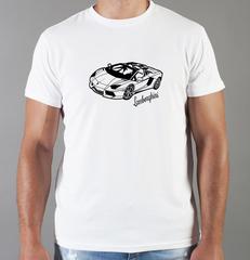 Футболка с принтом Ламборджини, Ламборгини (Lamborghini) белая 0017
