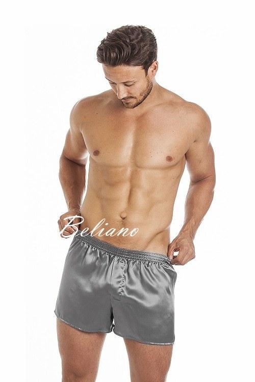 Мужские шелковые трусы - шорты серого цвета из натурального шелка. Нижнее белье купить в Киеве в Украине в интернет-магазине в Beliano по фото с ценой