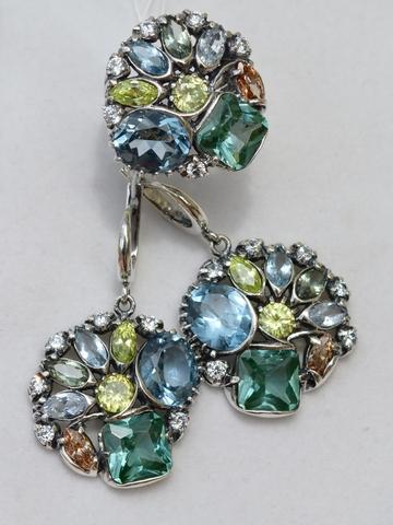 Георгин (кольцо + серьги из серебра)