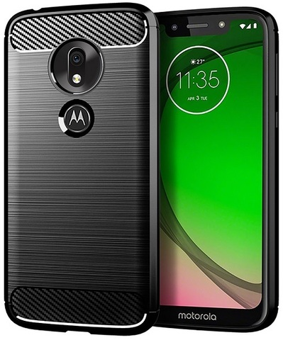 Чехол Motorola Moto G7 Play цвет Black (черный), серия Carbon, Caseport