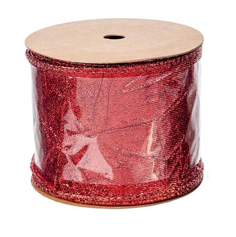Лента декоративная металлик жатая, размер:60мм х 3м, цвет:красный