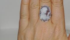 Камея Б.жемчуг (кольцо + серьги из серебра)