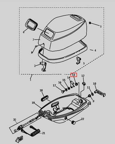 Втулка внутр. ручки защелки колпака для лодочного мотора T9.8 Sea-PRO (1-13)