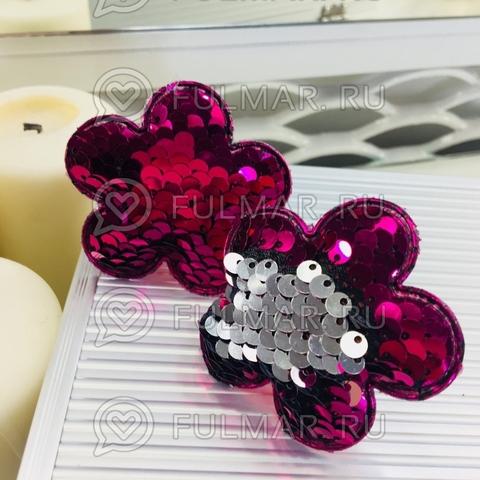 Набор резинки для волос с двусторонними пайетками меняют цвет Фуксия-Серебристый Цветочки (2 шт.)