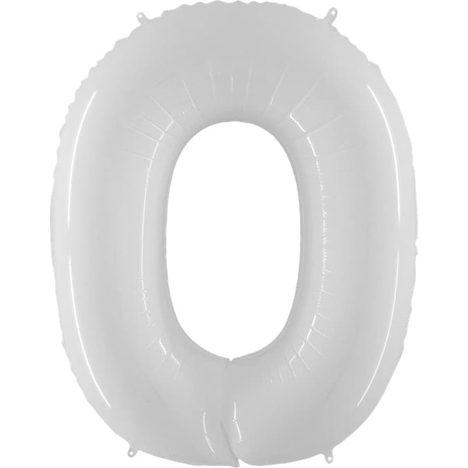 Фольгированная цифра 0, белый