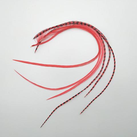 Перья петуха в волосы 25-35 см. 6 шт. (красный)