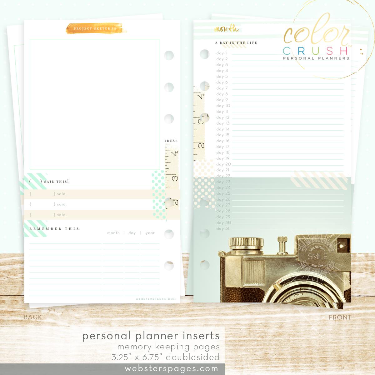 Планер с наполнением. Не датирован.-PERSONAL PLANNER KIT  by Websters Pages -Teal/White