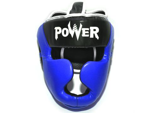 Шлем боксерский POWER, ПВХ, цвет синий, размер L :HT-P-L-C: